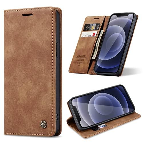 ivencase Handyhülle Kompatibel mit iPhone 12 Mini Hülle, mit Kartenfach Geld Slot Ständer Flip Schutzhülle für iPhone 12 Mini Wallet Hülle PU Leder - braun