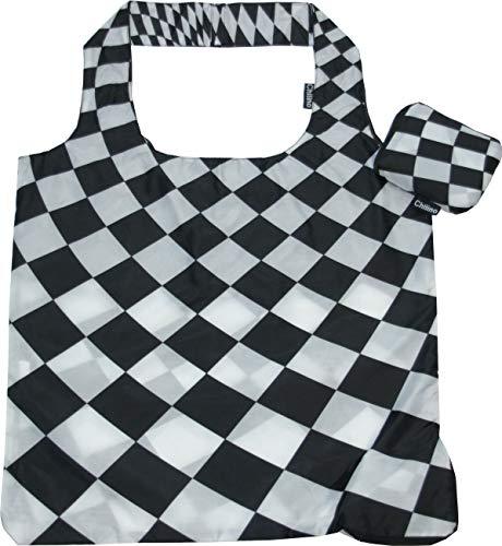 Chilino Karos Faltbare Einkaufstasche, groß und stabil, umweltfreundlich, 100% Polyester, schwarz, weiß, 47 x 41 cm