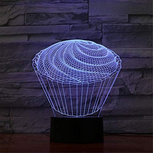 3D Night Light, 3D Led Illusion Lamp, cake Gift for Girl, 3D Night Light for Kids, 16 Colours Changing Acrylic LED Night Light, Birthday Gift