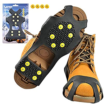 Sfee Ice Cleats Snow Grips Overshoes Boots, Anti-Slip Silicone Portable Walk Traction Cleats Stainless Steel Spikes for Walking, Jogging, Hiking, Climbing, Fishing, Running, Men, Dog, Kids (M)