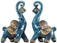 置物・オブジェ 祝福象の形の装飾品彫刻リビングルームの寝室の入り口ホールの装飾 (Color : Blue)