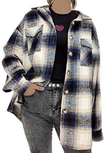 Women's Casual Label Button Down Long Sleeve Plaid Shacket Jacket Coat Blue S
