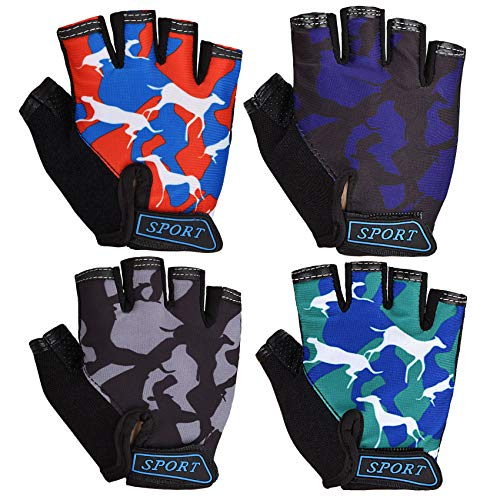 PSATCL 4 Pairs Kids Cycling Gloves, Non-Slip Half Finger Gloves Children Sports Gloves Breathable Gloves for Girl's and Boy's Cycling, Biking, Climbing, Skating (4 Pairs Pattern-Animal)
