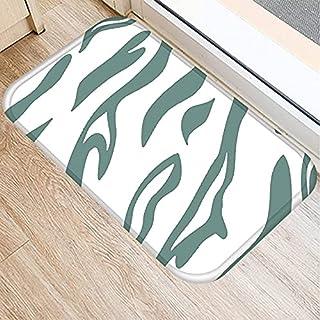 OPLJ Green Geometric Pattern Anti-Slip Suede Carpet Door Mat Doormat Outdoor Kitchen Living Room Floor Mat Rug A11 40x60cm