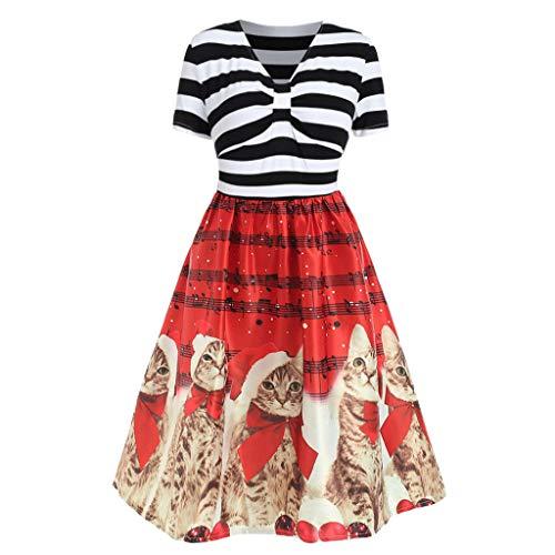 Amphia - 1950er Vintage Kleid Retro - Retro Kleid mit Katzenmotiv-Print - Damenmode mit V-Ausschnitt Weihnachtskatzen Musikalische Noten Print Vintage Flare Dress