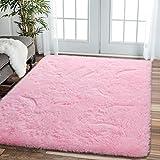 Comee Weicher Wohnzimmer-Teppich für Schlafzimmer, flauschiger Teppich für Kinderzimmer, moderner Zottelteppich, Heimdekoration, gemütlich, für Babys, Jungen, abstrakter Akzent, Babyrosa, 1,2 x 1,8 m