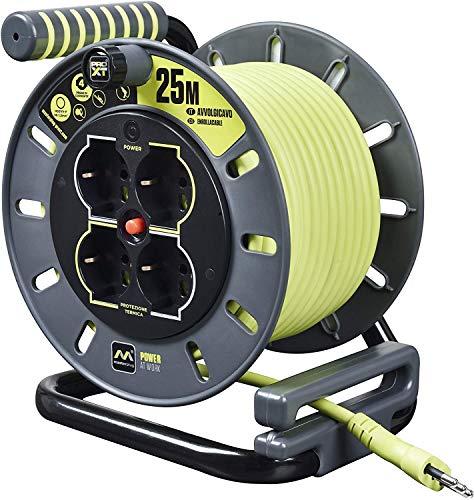 Masterplug Pro-XT Avvolgicavo 25 metri, 4 Prese Universali, Polivalenti Schuko EU & Italia, Prolunga Elettrica 16 A, Indicatore LED, Cavo Alta Visibilità
