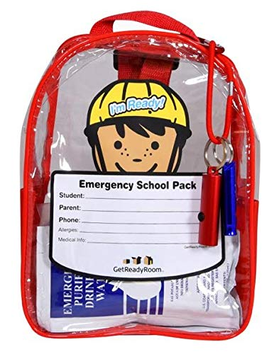 Children#039s School Emergency Backpack  Waterproof Clear Backpack with Light First Aid Emergency Essentials  Send Them On Their Way Prepared for Emergencies