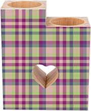 Romantic Wooden Heart Shaped Couple Candle Holders, BNS Tartan Plaid in Moss Green Fuchsia Mauve Blue Candle Holder Heart ...
