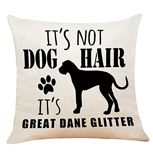 It's Not Dog Hair It's Great DaneGlitter Throw Pillow Case, 18 x 18 Inch,FunnyDog Lover Gifts, Great DaneDog Lover Gifts, Funny Dog Decor, Linen Cushion Cover for Sofa Couch Bed Decor
