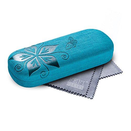 FEFI FEFI Hardcase Brillenetui Nature in geprägtem Blumen-Design - Inklusive hochwertigem Brillenputztuch/Mikrofasertuch (Blau)