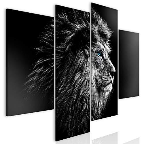 decomonkey Bilder Löwe 126x98 cm 4 Teilig | Leinwandbilder Bild auf Leinwand Vlies Wandbild Kunstdruck Wanddeko Wand Wohnzimmer Wanddekoration Deko Tiere