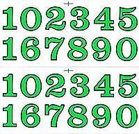 (シャシャン)XIAXIN 防水 PVC製 ナンバー 数字 ステッカー セット 耐候 耐水 数字 キャラクター ミニサイズ 表札 スーツケース ネームプレート ロッカー 屋内外 兼用 TSS-110 (2点, グリーンXブラック)