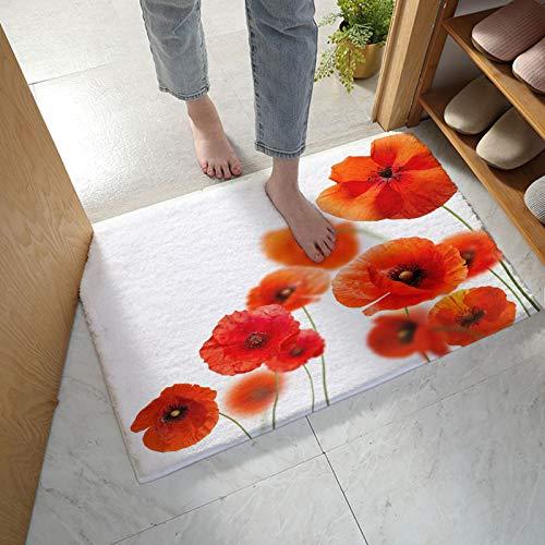MuswannaA Bathroom Rug Bath Mat Red Flowery Poppies Bouquet Blooming Extra Absorbent Bath Mat Non Slip Microfiber Shower Rug Plush Thick Shaggy Floor Mat- 24''x35''