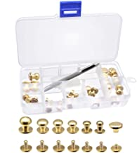 Sam Browne Soild Brass Button Studs,Yotako 24 Pack Leather Craft Belt Screwback Screw Spot Nail Rivets DIY Suitable for Arts and Clothers Making with Install Hole Punch