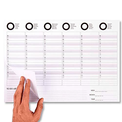 JRCURE Planificador semanal de escritorio A3 – Weekly Planning para productividad – Calendario planificador de mesa, 50 hojas profesional