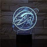 Kreative Fischerei Fisch Shpe 3D LED Tischlampe Kinder Geschenk Nachtlichtwechsel Touch Usb 3D LED...
