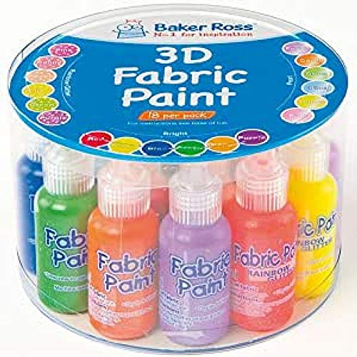 Baker Ross Pack Économique Peintures 3D pour Tissu - Vendu par lot de 18