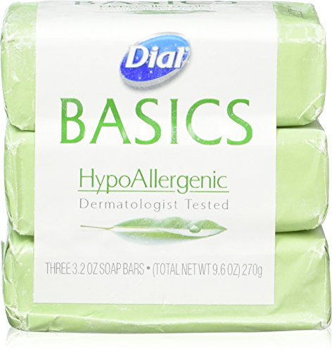 Dial Basics HypoAllergenic Dermatologist Tested Bar Soap, 3.2 oz (12 Bars)