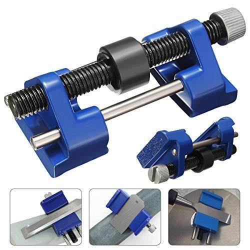 1 x messenslijper, voor metalen sjablonen, ruw hout & chisel, voor vliegtuig, ijzer, messen, gereedschap, blauw (ca. 9 x 4 x 3,3 cm).