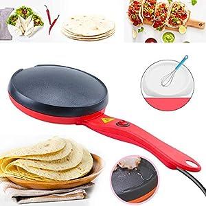 Portable Electric Crepe Maker, 110V Non-Stick Coating Crepe Pan, Auto Temperature Control for Crepes, Pancakes, Bacon, Tortilla