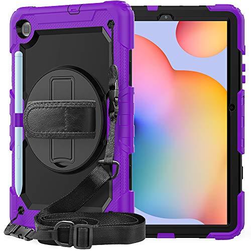 QYiD Funda para Lenovo Tab M10 FHD Plus 10.3 Pulgadas (2020 2nd Gen) con Protector de Pantalla, Carcasa Rugosa con Soporte Rotativo Asa de Mano para Lenovo Tab M10 Plus TB-X606F TB-X606X, Negro/Lime