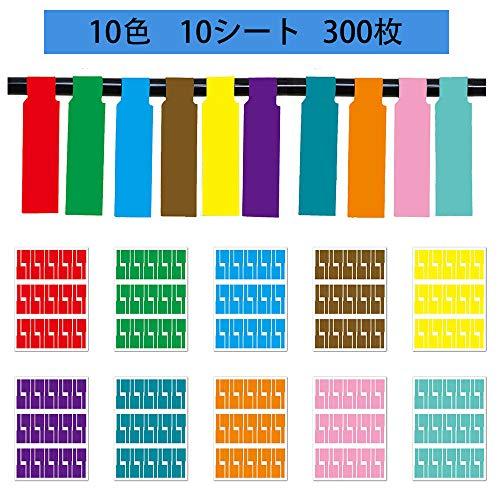 300片 (10色)ケーブルラベル ケーブルタグ カラー 配線識別 電線整理収納 手書き可能 屋外でも使える ケーブルタグ 目印 (10色)