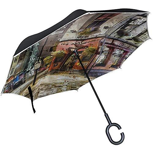 Alice Eva Umgekehrter Regenschirm-Straßen-Nachtmoderner Struktur-Gassen-Reise-Regenschirme Rückklappschirm-großer gerader Regenschirm