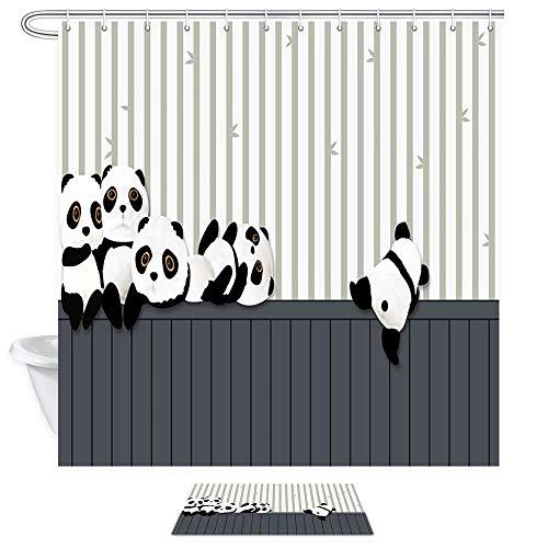 vrupi Tier Panda bär Bambus Vorhang duschvorhang Set mit Carpet Cartoon Panda Play gestreiften Holz Stoff Bad duschvorhang Set Flanell rutschfeste tür Matte Bad Carpet
