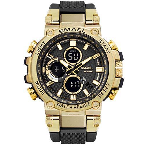JTTM Reloj Analógico Digital Militar Reloj Deportivo Hombres Dual Dial Negocio Casual Multifunción Relojes De Pulsera Electrónicos Reloj Resistente,Oro