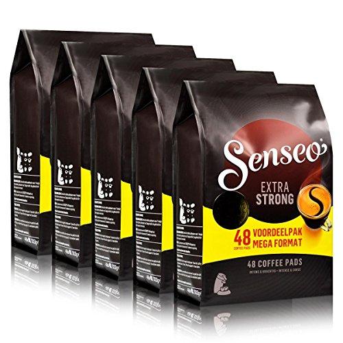 Senseo Kaffeepads Extra Dark / Extra Kräftig, Intensiver und Vollmundiger Geschmack, Kaffee, neues Design, 5er Pack, 5 x 48 Pads