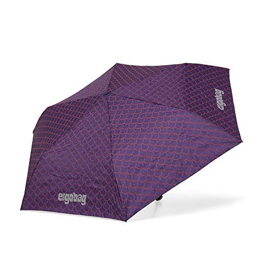 ergobag Regenschirm Schultaschenschirm für Kinder, extra leicht mit Tasche, Ø90cm - PerlentauchBär, Lila