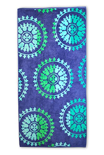 "SUPERIOR 100% Cotton Luxury Beach Towels - Oversized Beach Towel, 450 GSM Swim Towel, Spin Wheels (34"" x 64"")"