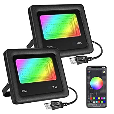 LED Flood Lights 2 Pack RGB Color Chaning, OPPSK 20W Stage Lights Bluetooth APP Control, IP66 Waterproof Outdoor Use, Dimmable 16 Million Colors 20 Modes for Landscape, Garden, Stage, Wedding Party