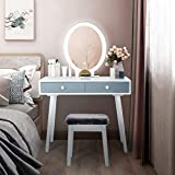 Vanity Table Set with LED Mirror Makeup Vanity Desk with 2 Drawers for Bedroom Dressing Table Dresser Desk with Cushioned Stool for Women (Grey&White)