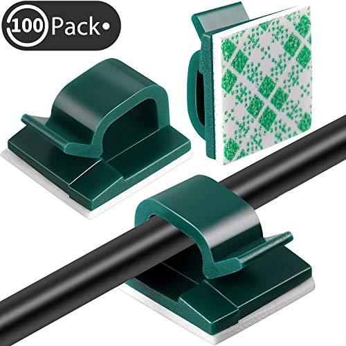 Blulu 100 Stücke Mini Kabelclips für den Außenbereich mit Klebebändern Lichtclips Dekorationsclips Selbstklebende Haken Drahthalter für Weihnachten und Lichterketten (Dunkelgrün)
