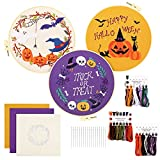 Gukasxi 3 Pack Halloween Embroidery Kits, Cross Stitch Kit for Beginners Adults DIY Halloween Pumpkin Wreath Crafts Embroidery Kit Including an Embroidery shed and Embroidery Tools (A1)