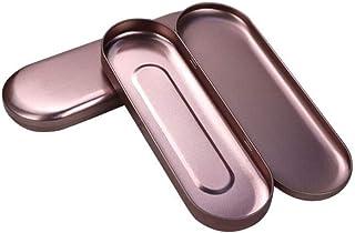 2 Pack Rose Gold Pen Case Simple Metal Pencil Case Mini Hinged Tin Box Makeup Brushes Organizers Nail Clipper Nipper Stora...