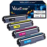 Valuetoner TN-221 TN-225 Compatible Toner Cartridge Replacement for Brother TN221 TN225 to use with HL-3140CW HL-3170CDW HL-3180CDW MFC-9130CW Printer ( Black, Cyan, Magenta, Yellow, 4 Pack )