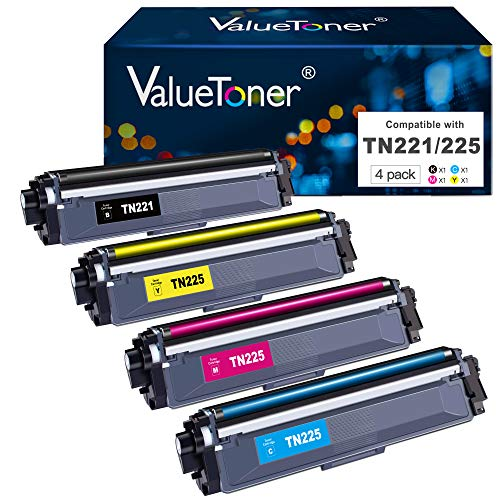 Valuetoner Compatible Toner Cartridge Replacement for Brother TN221 TN225 TN-221 TN-225 to use with HL-3140CW HL-3170CDW HL-3180CDW MFC-9130CW Printer (Black, Cyan, Magenta, Yellow, 4 Pack)