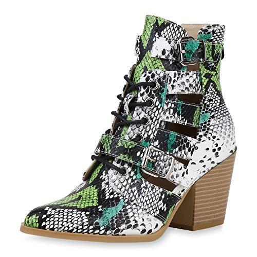 SCARPE VITA Damen Ankle Boots Cut Out Stiefeletten Snake Print Schuhe Schnürer Chunky High Heel Booties 192402 Schwarz Weiss Grün Snake 41