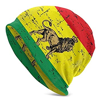 Zhung Ree Winter Dry Rasta Lion Knit Hats Casual Beanie Hat Printing Cap Black for Unisex Gifts