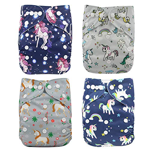 Waschbar Windel Babywindeln Stoffwindeln Schließungt wiederverwendbar, inkl. 4 Einlagen, 4 Stück (Einhorn1)