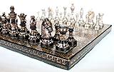 KLEO Stonkraft - Juego de ajedrez 31 x 31 cm - Plata Metalizada y Juego de Colores Negro con Brillantes Piezas de ajedrez de Lujo