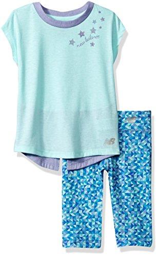 New Balance Kids Baby Girls Short Sleeve Top and Capri Set, Blue/Violet/Geo, 12 Months