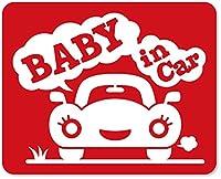 imoninn BABY in car ステッカー 【マグネットタイプ】 No.25 クルマさん (赤色)