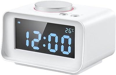 LOTOS Reloj De Alarma De Música Multi-Función Mini Dormitorio Reloj De Cabecera Pantalla LCD