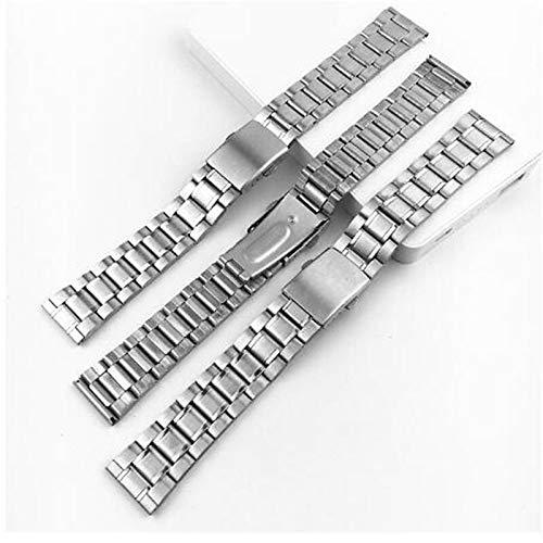 RHBLHQ 14/12/16/18/20 / 22mm DICTAC Reloj De Acero Inoxidable De La Plata De La Correa De La Pulsera del Reloj del Metal De Bandas con Cierre Desplegable For Hombres Mujeres (Size : 16mm)