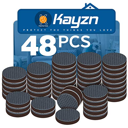 Kayzn Non Slip Felt Furniture Feet Pads Black 48 PCS 1quot Round Premium Rubber Grippers Self Adhesive Thick Chair Leg Floor Protectors and Furniture Stoppers for Fixation in Place Furniture