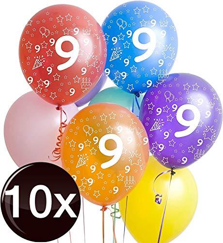 TK Gruppe Timo Klingler 10x Bunte Luftballons Zahl 9 - Ø 35 cm, Luft & Helium, Geburtstage, Party für Mädchen, Jungen, Zahlenballons, Zahlenluftballon neun (Zahl 9)